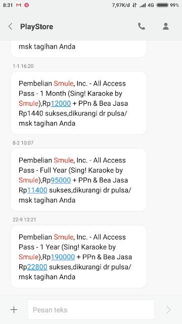 Bukti SMS VIP Smule